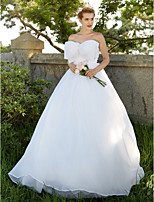 2017 Ball Gown Wedding Dress - Classic & Timeless Open Back Sweep / Brush Train Strapless Organza with Bow