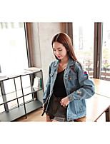 Women's Casual/Daily Vintage Simple Fall Winter Denim Jacket,Solid Shirt Collar Long Sleeve Regular Others Embroidered
