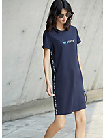 AMIIWomen's Casual/Daily T Shirt DressSolid Print Quotes & Sayings Round Neck Above Knee Short Sleeve Cotton Summer Mid Rise Micro-elastic