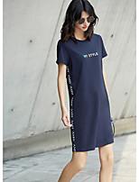 T Shirt Vestito Da donna-Casual Tinta unita Con stampe Frasi e citazioni Rotonda Sopra il ginocchio Manica corta Cotone EstateA vita