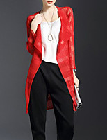 Women's Casual/Daily Long Cardigan,Solid Asymmetrical Long Sleeve Polyester Summer Thin Inelastic