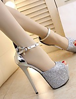 Women's Heels Comfort PU Spring Casual Silver Gold 5in & over