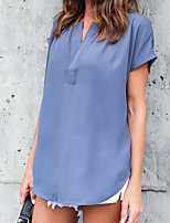 Women's Casual Casual/Daily Street Sexy Simple Street chic Chiffion All Match Loose Spring Summer T-shirtSolid V Neck Short Sleeve Medium