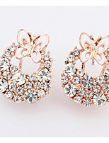 Euramerican Fashion Elegant  Luxury  Rhinestone  Butterfly Stud Earrings Women's Party Gift Jewelry