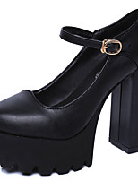 Women's Heels PU Summer Walking Split Joint Chunky Heel Black 3in-3 3/4in