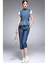 Chemise Pantalon Costumes Femme simple Printemps Eté Recadrée Pant Col Arrondi non élastique
