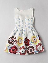 Girl's Print Jacquard Dress,Rayon Summer Sleeveless