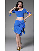 Belly Dance Outfits Women's Training Modal Lace-up 2 Pieces Short Sleeve Dropped Skirts Tops