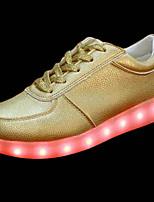 Women's Sneakers PU Spring Fall Walking LED Flat Heel Gold 2in-2 3/4in