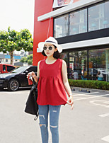 Women's Casual Simple Tank Top,Solid Round Neck Sleeveless Cotton