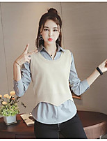 Women's Going out Street chic Regular Pullover,Solid Round Neck Short Sleeve Rayon Spring Medium Micro-elastic