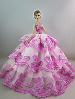 Evening/ Party Dresses in Bright Purple For Barbie Doll For Girl's Doll Toy