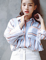 Women's Going out Casual/Daily Simple Shirt,Striped Shirt Collar Long Sleeve Polyester