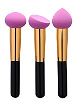 3 Powder Brush Sponge Applicator Foundation Brush Nylon Professional Travel Full Coverage Eco-friendly Portable Aluminum Face 3pcs/set