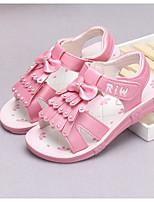 Girls' Flats First Walkers PU Leatherette Spring Fall Daily Walking Magic Tape Low Heel Blushing Pink Peach White Flat