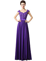 Formal Evening Dress Sheath / Column Sweetheart Floor-length Chiffon Lace with Lace