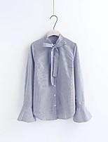 Для женщин На каждый день Праздники На выход Весна Осень Рубашка Рубашечный воротник,Секси Простое Уличный стиль Полоски Длинный рукав,