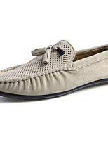 Men's Oxfords Moccasin Rubber Spring/Fall Outdoor Walking Moccasin Flat Heel Khaki Green Gray Under 1in