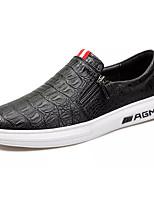 Men's Loafers & Slip-Ons Comfort PU Spring Fall Casual Comfort Chain Flat Heel Burgundy Black Flat