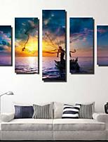 Impression d'Art Rustique,Cinq Panneaux Format Horizontal Imprimé Décoration murale For Décoration d'intérieur