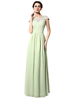Formal Evening Dress Sheath / Column Jewel Floor-length Chiffon with Lace