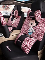Car Seat Cushion Car Ceat Cushion Cets Of Family Car Cartoon Cute Ice Silk Cloth Material---Pink Leopard Print-215