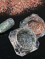 2bottles/set 0.2g/bottle Fashion Gorgeous Nail Art Platinum Glitter Power Galaxy Starry Effect DIY Shining Decoration BG01&19