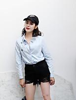 Women's Going out Casual/Daily Simple Street chic Fall Denim Jacket,Solid Notch Lapel Long Sleeve Regular Cotton