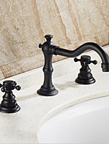 Traditional/Vintage Vessel Widespread Three Holes for  Oil-rubbed Bronze , Bathroom Sink Faucet