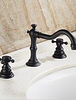 Традиционный/винтаж Чаша Широко распространенный Три отверстия for  Начищенная бронза , Ванная раковина кран