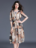 Maxlindy Women's Going out Casual/Daily Party Vintage Street chic Sophisticated Patchwork  Polyester Dress
