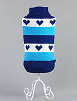 Dog Sweater Dog Clothes Casual/Daily Hearts Blue Ruby