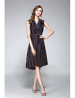 NEDO Women's Going out Casual/Daily Holiday Simple Street chic Chiffon DressStriped V Neck Asymmetrical Sleeveless Polyester Spring SummerMid