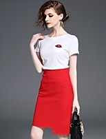 Women's Casual/Daily Simple T-shirt Skirt Suits,Solid Crew Neck Short Sleeve