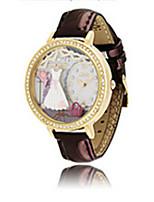 Женские Модные часы Кварцевый Кожа Группа Коричневый Розовый