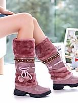 Women's Boots Comfort PU Fur Spring Winter Casual Yellow Purple Beige Black Flat