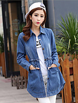 Women's Going out Sexy Spring Denim Jacket,Solid Shawl Lapel Long Sleeve Regular Others