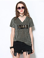 MEIDONGTAI Women's Casual/Daily Simple T-shirtSolid Striped V Neck Short Sleeve Acrylic