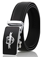 Men's Simple Black Genuine Leather Alloy Automatic Buckle Waist Belt Work/Casual/Party All Seasons
