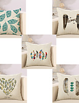 Set Of 5 Vintage Colorful Baroque Feather Design Pillow Cover Classic Square Pillow Case Cotton/Linen Cushion Cover