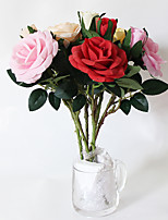 (5pcs/lot) Cheap Wedding Decoration Roses Artificial Flower Real Touch Silk Rose Party Decoration Home Decor Fake Flowers(2head)