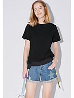 Tee-shirt Femme,Couleur Pleine Quotidien Décontracté simple Manches Courtes Col Arrondi Coton Polyester