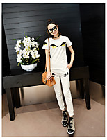 Women's Going out Casual/Daily Cute Active T-shirt Pant Suits,Geometric Print Round Neck Half Sleeve