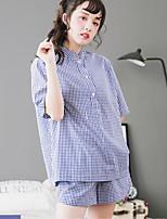 Women's 2 Pcs Shorts Sleepwear Suit Short Sleeve Plaid Comfy Pajamas Suit
