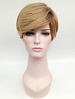 Ombre Hair Wig Short Straight Blonde with Dark Roots Synthetic Hair Wigs for Women