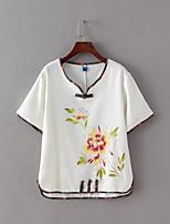T-shirt Da donna Per uscire Casual Sensuale Semplice Moda città Estate,Con stampe A V Cotone Manica corta Sottile Medio spessore