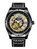 Мужской Часы со скелетом Модные часы Механические часы Кварцевый С автоподзаводом Кожа Группа Черный