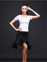 Latin Dance Dresses Women's Training Milk Fiber 1 Piece Sleeveless High Dress