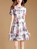 Women's Slim chic A Line Dress Print Round Neck Mini Short Sleeve Summer Mid Rise Micro-elastic Thin