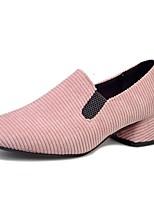 Damen Loafers & Slip-Ons Samt Sommer Herbst Elastisch Blockabsatz Schwarz Armeegrün Rosa 2,5 - 4,5 cm